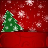 Christmas tree horizontal postcard. Vector illustration: Paper red horizontal background with Christmas tree and snowflake vector illustration