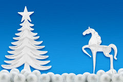 Christmas tree and horse Royalty Free Stock Photography