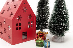Christmas tree and house Scene Royalty Free Stock Photo