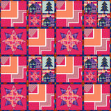Christmas tree and house seamless pattern background patchwork Royalty Free Stock Photo
