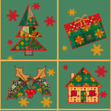 Christmas tree and house seamless pattern background patchwork Stock Images