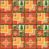 Christmas tree and house seamless pattern background style of pa Royalty Free Stock Images