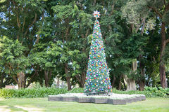 Christmas Tree in Hyde Park. SYDNEY,NSW,AUSTRALIA-NOVEMBER 18,2016: Decorated Christmas tree and lush greenery at Hyde Park in downtown Sydney, Australia stock image