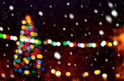 Christmas tree i the snowfall Stock Photo