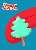 Christmas tree ice cream pistachio lick. Popsicle on stick in fo. Rm of green fir-tree Licking tongue. Sweets for Christmas. Dessert for new year Royalty Free Stock Images