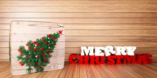 Christmas tree in ice cube on wooden bacground. 3d render Stock Image
