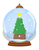Christmas Tree in Ice Globe - Christmas Vector Illustration Royalty Free Stock Photo