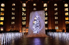 Christmas tree in ice Stock Photo