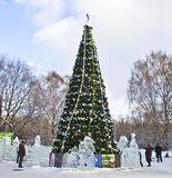 Christmas tree and ice sculptures, Moscow Royalty Free Stock Photography