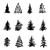 Christmas tree icon brush hand made stroke ink design element silhouette. Set Stock Image