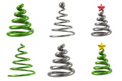 Christmas tree icon collection 3d illustration Stock Photos