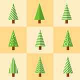 Christmas tree icon. Flat design style modern  illustration.  on stylish color background Stock Photography