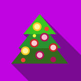 Christmas tree icon, flat style. Christmas tree icon in flat style isolated with long shadow vector illustration Stock Photography