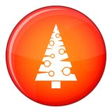 Christmas tree icon, flat style. Christmas tree icon in red circle isolated on white background vector illustration Stock Image