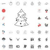 Merry Christmas and Happy New Year icon. Vector illustration. Christmas tree icon. Merry Christmas and Happy New Year set icon. Vector illustration Royalty Free Stock Photos