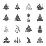Christmas tree icon set. Flat design. New year winter c. Christmas tree icon set. Flat monochrome design. New year winter collection. Vector illustration vector illustration