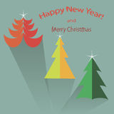 Christmas tree icon set in flat design style, vector illustration Royalty Free Stock Photography
