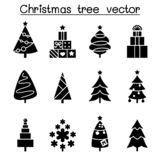 Christmas tree icon set in flat style vector illustration