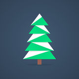 Christmas tree icon with snow. Concept of christmas tree silhouette, spruce, family event, nativity. christmas tree isolated on dark background. flat style Stock Image