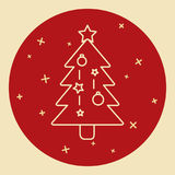 Christmas tree icon in thin line style Royalty Free Stock Photos