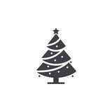 Christmas tree icon vector, decorated conifer filled flat sign,. Solid pictogram isolated on white, spruce logo illustration vector illustration