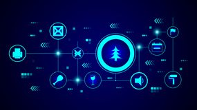 Christmas tree icon. From Web set. In the technological background royalty free illustration