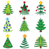 Christmas tree icons. Vector set Stock Image
