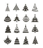 Christmas tree icons. Authors illustration in vector Stock Image