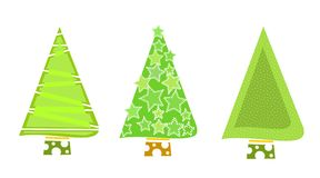 Christmas tree icons-Green. Christmas tree icons in green for Christmas illustration embellishment Royalty Free Stock Photo