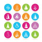 Christmas tree icons. Set of 16 Christmas tree icons in colorful buttons stock illustration