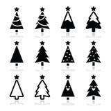 Christmas tree icons set royalty free illustration
