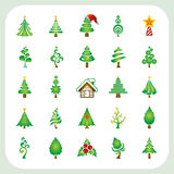 Christmas tree icons set Stock Photos