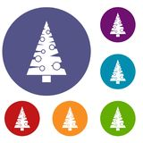 Christmas tree icons set. In flat circle reb, blue and green color for web Stock Images