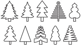 Christmas tree icons. A set of Christmas tree outline drawing icons Stock Image