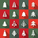 Christmas tree icons set. Vector Illustration. Flat design Stock Photos
