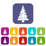 Christmas tree icons set. Vector illustration in flat style in colors red, blue, green, and other Royalty Free Stock Image