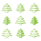 Christmas Tree Icons. Set on white background Stock Images