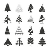 Christmas tree icons. Set of 16 Christmas tree icons on white background Royalty Free Stock Photos