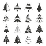 Christmas tree icons. Set of 16 Christmas tree icons on white background vector illustration