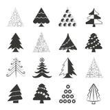 Christmas tree icons. Set of 16 Christmas tree icons on white background Stock Photography
