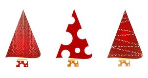 christmas tree icons- Sparkling red decorated stock illustration