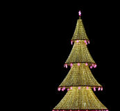 Christmas tree illuminated to Christmas and New Year holidays at night in Moscow Royalty Free Stock Photo