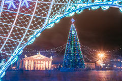 Christmas tree, illuminations and decorations in town square in Royalty Free Stock Image