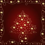 Christmas tree illustration. An illustrated view of a Christmas tree with star decorations outlined by a string of lights on a dark maroon background Royalty Free Stock Photo