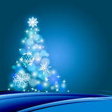 Christmas tree. Illustration Christmas tree in blue background Royalty Free Stock Photos