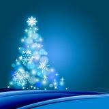 Christmas tree. Illustration Christmas tree in blue background vector illustration