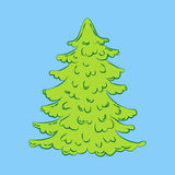 Christmas tree illustration. On the blue background. Vector illustration Royalty Free Stock Photos