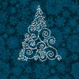 Christmas tree illustration on blue. EPS 8 Royalty Free Stock Photography