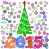 Christmas tree illustration for card, New Year 2015 text Royalty Free Stock Image