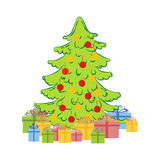 Christmas tree illustration. Christmas tree with decorations and presents illustration on the white background. Vector illustration Stock Photo